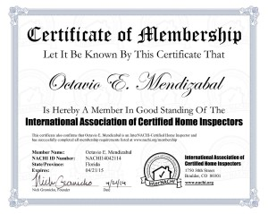 The International Association of Certified Home Inspectors--Membership Certifictae